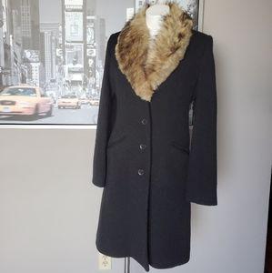 Vintage Via Spiga Faux Fur Collar Wool Blend Coat